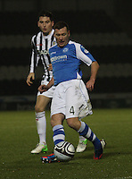 Patrick Cregg under pressure from Kenny McLean in the St Mirren v St Johnstone Clydesdale Bank Scottish Premier League match played at St Mirren Park, Paisley on 8.12.12.