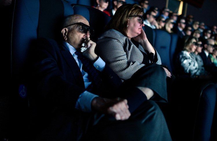 "UNITED STATES - MAY 19: Rep. John Dingell, D-Mich., watches a screening of ""D-Day 3D: Normandy 1944,"" narrated by Tom Brokaw, at the IMAX theater in the the Smithsonian Air and Space Museum, May, 19, 2014. (Photo By Tom Williams/CQ Roll Call)"