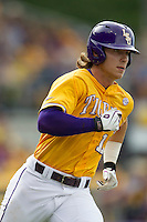 LSU Tigers second baseman Jared Foster (17) runs to first base during the Southeastern Conference baseball game against the Texas A&M Aggies on April 25, 2015 at Alex Box Stadium in Baton Rouge, Louisiana. Texas A&M defeated LSU 6-2. (Andrew Woolley/Four Seam Images)