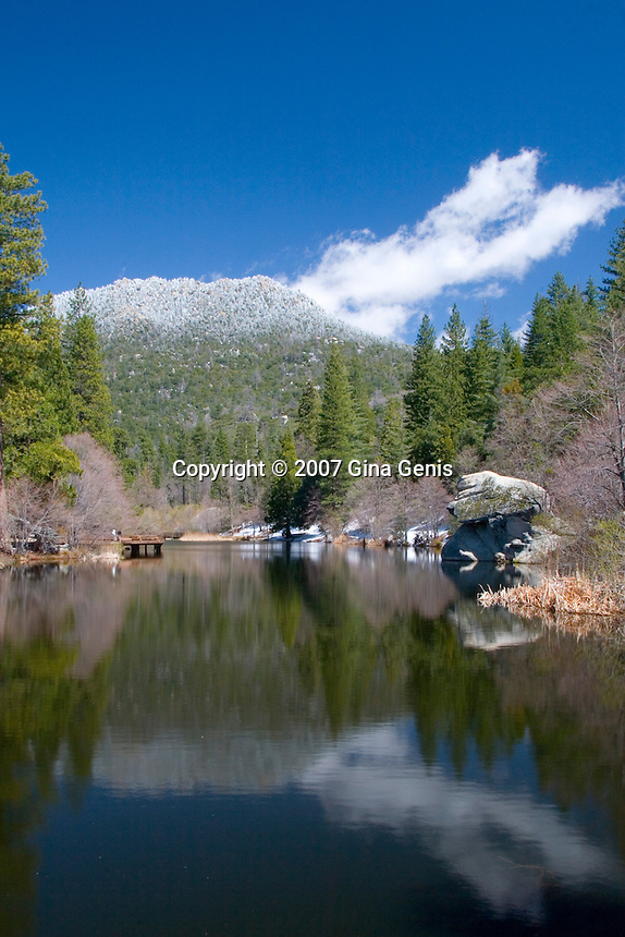 Lake Fulmor beneath the snow covered San Jacinto mountains