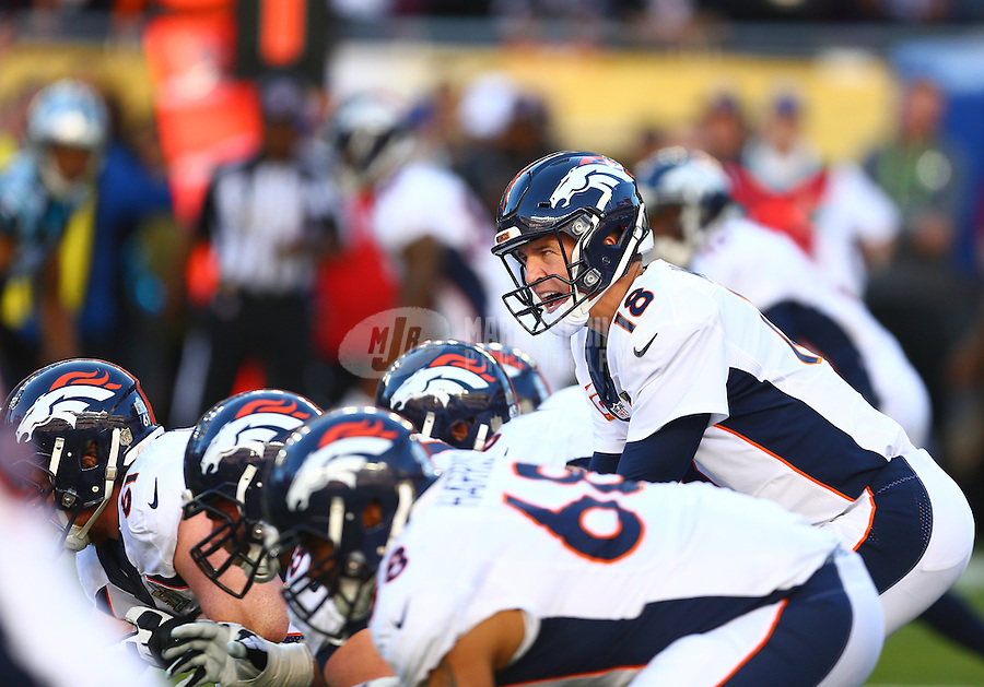 Feb 7, 2016; Santa Clara, CA, USA; Denver Broncos quarterback Peyton Manning (18) against the Carolina Panthers in Super Bowl 50 at Levi's Stadium. Mandatory Credit: Mark J. Rebilas-USA TODAY Sports