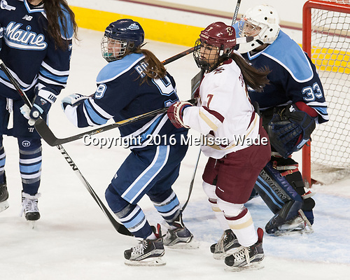 Mikayla Rogers (Maine - 9), Kristyn Capizzano (BC - 7), Carly Jackson (Maine - 33) - The Boston College Eagles defeated the visiting University of Maine Black Bears 2-1 on Saturday, October 8, 2016, at Kelley Rink in Conte Forum in Chestnut Hill, Massachusetts.  The University of North Dakota Fighting Hawks celebrate their 2016 D1 national championship win on Saturday, April 9, 2016, at Amalie Arena in Tampa, Florida.