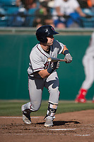 Lancaster JetHawks second baseman Max George (3) shows bunt during a California League game against the San Jose Giants at San Jose Municipal Stadium on May 12, 2018 in San Jose, California. Lancaster defeated San Jose 7-6. (Zachary Lucy/Four Seam Images)
