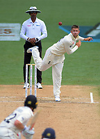 Joe Denley bowls during day five of the international cricket 2nd test match between NZ Black Caps and England at Seddon Park in Hamilton, New Zealand on Tuesday, 3 December 2019. Photo: Dave Lintott / lintottphoto.co.nz