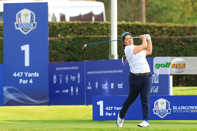 Bethany Wu (USA) on the 1st tee during Day 2 Singles for the Junior Ryder Cup 2014 at Blairgowrie Golf Club on Tuesday 23rd September 2014.<br /> Picture:  Thos Caffrey / www.golffile.ie