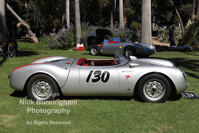 "ARCADIA, CALIFORNIA, USA, SEPTEMBER 6, 2013. Spyders in the Garden car show at the Los Angeles Arboretum on September 6, 2013. A replica of James Dean's 1955 Porsche 550 Spyder ""The Little Bastard"""