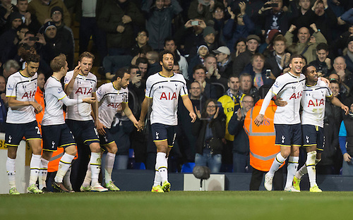 01.01.2015.  London, England. Barclays Premier League. Tottenham versus Chelsea. Tottenham players celebrate their goal scored by Danny Rose to make it 2-1.