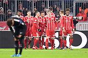 December 5th 2017, Allianze Arena, Munich, Germany. UEFA Champions league football, Bayern Munich versus Paris St Germain;  24 Corentin Tolisso (bay) Franck RIBERY (bay)  Kingsley Coman (bay) Sebastian Rudy (bay) and James Rodríguez (bay) celebrate their goal
