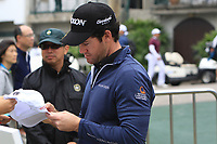 Ricardo Gouveia (POR) signing a cap for a fan after Round 3 of the UBS Hong Kong Open, at Hong Kong golf club, Fanling, Hong Kong. 25/11/2017<br /> Picture: Golffile | Thos Caffrey<br /> <br /> <br /> All photo usage must carry mandatory copyright credit     (&copy; Golffile | Thos Caffrey)