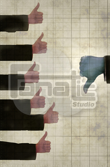 Concept image of a group of hands with thumbs up against one bigger hand with thumb down depicting disagreement from someone in power