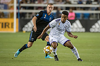 SAN JOSE,  - SEPTEMBER 1: Jackson Yueill #14 of the San Jose Earthquakes and Cristian Higuita #7 of the Orlando City SC during a game between Orlando City SC and San Jose Earthquakes at Avaya Stadium on September 1, 2019 in San Jose, .