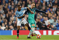 Tottenham Hotspur's Christian Eriksen shields the ball from Manchester City's Raheem Sterling<br /> <br /> Photographer Rich Linley/CameraSport<br /> <br /> UEFA Champions League - Quarter-finals 2nd Leg - Manchester City v Tottenham Hotspur - Wednesday April 17th 2019 - The Etihad - Manchester<br />  <br /> World Copyright © 2018 CameraSport. All rights reserved. 43 Linden Ave. Countesthorpe. Leicester. England. LE8 5PG - Tel: +44 (0) 116 277 4147 - admin@camerasport.com - www.camerasport.com