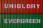 A3ABM2 Red and green container storage boxes red on top of green