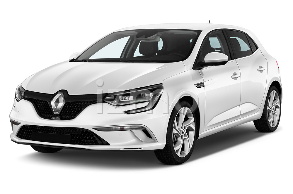 2017 Renault Megane GT 5 Door Hatchback angular front stock photos of front three quarter view