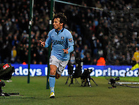 David Silva of Manchester City celebrates scoring his and city's second goal - Barclays Premier League - Manchester City vs Fulham - Etihad Stadium - Manchester - 13/01/13 - Picture Simon Bellis/Sportimage.Manchester 19/1/2013 .Football Calcio 2012/2013 Premier League.Manchester City Vs Fulham .Foto Insidefoto .ITALY ONLY