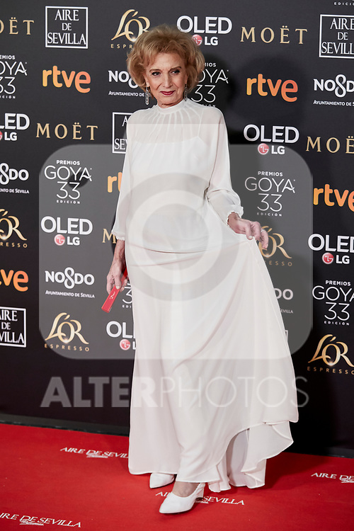 Marisa Paredes attends to 33rd Goya Awards at Fibes - Conference and Exhibition  in Seville, Spain. February 02, 2019. (ALTERPHOTOS/A. Perez Meca)