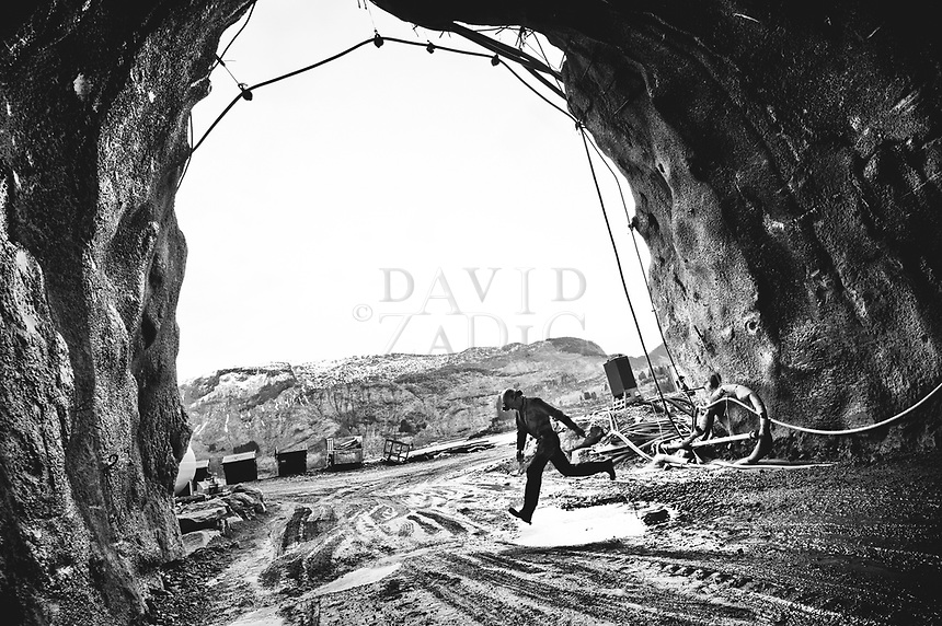 The decisive moment. Torbjørn Byvold from Volda, Norway working for NCC in Dalsfjordsambandet tunnels in Dale, Norway.