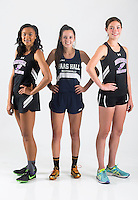 NWA Democrat-Gazette/JASON IVESTER<br /> Fayetteville's Lauren Holmes (from left) (athlete of the year), Bentonville Haas Hall's Tori Willis (newcomer of the year) and Fayetteville's Rebecca Boushelle (runner of the year); photographed on Monday, May 23, 2016, in the Springdale studio