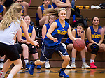 WOODBURY, CT-120818JS08- Seymour's Alyssa Cosciello (34) runs the floor during their scrimmage against Nonnewaug Saturday at Nonnewaug High School in Woodbury. <br /> Jim Shannon Republican American