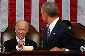 Vice President Joe Biden points at President Barack Obama during the State of the Union address t0 a joint session of Congress on Capitol Hill in Washington, Tuesday, Jan. 12, 2016. <br /> Credit: Evan Vucci / Pool via CNP
