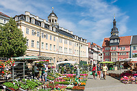 Germany; Free State of Thuringia, Eisenach: market square with Thuringia Museum - City Palace and city hall | Deutschland, Thueringen, Eisenach: Marktplatz mit Thueringer Museum - Stadtschloss und Rathaus
