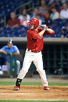 Clearwater Threshers left fielder Cord Sandberg (35) at bat during a game against the Charlotte Stone Crabs on April 12, 2016 at Bright House Field in Clearwater, Florida.  Charlotte defeated Clearwater 2-1.  (Mike Janes/Four Seam Images)