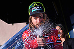 World Champion Peter Sagan (SVK) Bora-Hansgrohe holds onto the Maglia Rossa sprint jersey and sprays the bubbly on the podium at the end of Stage 7 of the 2017 Tirreno Adriatico a 10km Individual Time Trial at San Benedetto del Tronto, Italy. 14th March 2017.<br /> Picture: La Presse/Gian Mattia D'Alberto | Cyclefile<br /> <br /> <br /> All photos usage must carry mandatory copyright credit (&copy; Cyclefile | La Presse)