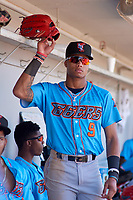 Inland Empire 66ers Jordyn Adams (9) during a California League game against the Rancho Cucamonga Quakes at LoanMart Field on September 2, 2019 in Rancho Cucamonga, California. Rancho Cucamonga defeated Inland Empire 4-3. (Zachary Lucy/Four Seam Images)