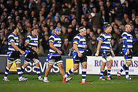 Bath forwards walk to a lineout. Aviva Premiership match, between Bath Rugby and Harlequins on November 28, 2014 at the Recreation Ground in Bath, England. Photo by: Patrick Khachfe / Onside Images