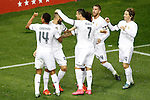Real Madrid's Casemiro, Karim Benzema, Cristiano Ronaldo, Marcelo Vieira, Sergio Ramos and Luka Modric celebrate goal during La Liga match. October 4,2015. (ALTERPHOTOS/Acero)
