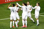 Real Madrid's Casemiro, Karim Benzema, Cristiano Ronaldo, Marcelo Vieira, Sergio Ramos and Luka Modric celebrate goal during La Liga match. October 4,2015. (ALTERPHOTOS/Acero)