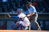 Mesa Solar Sox Danny Jansen (5), of the Toronto Blue Jays organization, and umpire Nick Mahrley await the pitch during a game against the Scottsdale Scorpions on October 21, 2016 at Sloan Park in Mesa, Arizona.  Mesa defeated Scottsdale 4-3.  (Mike Janes/Four Seam Images)