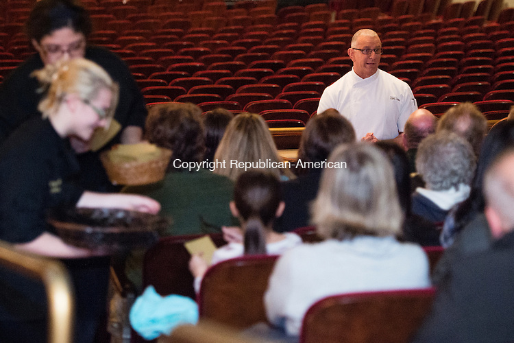 WATERBURY, CT - 4 December 2015-120415EC01-- Kimberly Munoz and Carissa Berardi (far left) are Kaynor Tech students who helped prep a meal with celebrity chef Robert Irvine (R) at the Palace Theater. Irvine has been on a number of Food Network shows and performed at the Palace Friday night. Erin Covey Republican-American.