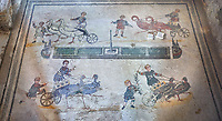 Wide picture of the Roman mosaics of the room of the Small Circus depicting Roman boys riding small chariots pulled by birds in a small circus, The Vestibule of The Smnall Circus, room no 41  at the Villa Romana del Casale, first quarter of the 4th century AD. Sicily, Italy. A UNESCO World Heritage Site.<br /> <br /> The Roman mosaic know as the Small Circus at the Villa Romana del Casale depicts a scene of a chariot race from the Circus Maximus in Rome. Two wheeled chariots, driven by children,  are racing around a central Pina (barrier) being drawn by fowl and web footed birds. The four chariots represent the four factions that raced against each other at the Circus and the tunics of the cild charioteers and the birds pulling their chariots are distinguished by the four different colours used by each faction.