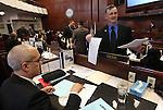 Nevada Senators Mo Denis, D-Las Vegas, left, and James Settelmeyer, R-Minden, talk on the Senate floor at the Legislature in Carson City, Nev. on Monday, March 7, 2011..Photo by Cathleen Allison