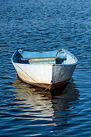 Rowboat tethered at Rodman Crossing, Narragansett, Rhode Island, USA.