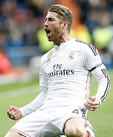 Real Madrid's Sergio Ramos celebrates goal during La Liga match.January 31,2015. (ALTERPHOTOS/Acero) /NortePhoto<br />