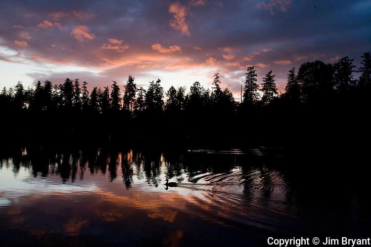 Sunsets over American Lake near Tacoma, Washington. Jim Bryant Photo