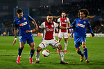 Mathias Olivera and Marc Cucurella of Getafe FC and Sergino Dest of AFC Ajax during UEFA Europa League match between Getafe CF and AFC Ajax at Coliseum Alfonso Perez in Getafe, Spain. February 20, 2020. (ALTERPHOTOS/A. Perez Meca)