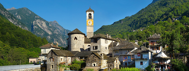 Rustic mountain village of Lavertezza with stone houses and church -Val Verzasca, Ticino, Alps,