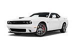 Stock pictures of low aggressive front three quarter view of 2017 Dodge Challenger SRT 3 Door Coupe