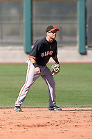 Brad Boyer #6 of the San Francisco Giants plays in a minor league spring training game against the Arizona Diamondbacks at the Giants minor league complex on March 16, 2011  in Scottsdale, Arizona. .Photo by:  Bill Mitchell/Four Seam Images.