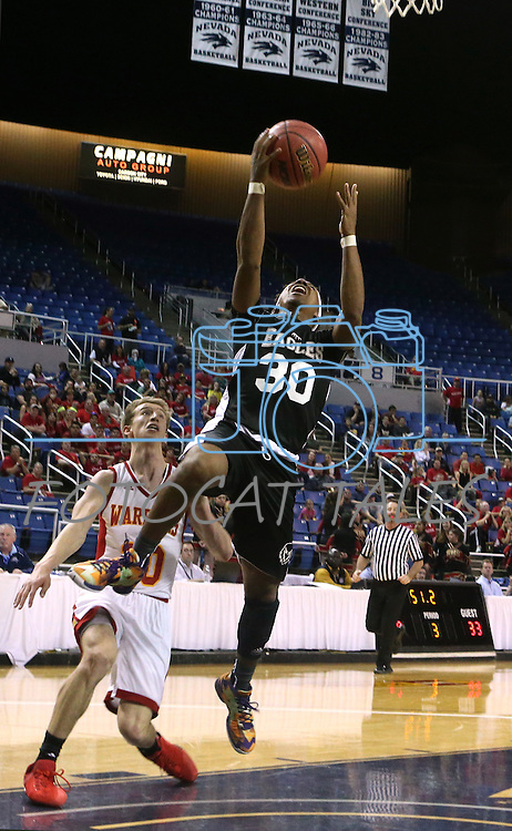 Word of Life's Paul Kelker shoots over Whittell defender Palmer Chaplin during the NIAA Division IV state basketball championship in Reno, Nev. on Saturday, Feb. 27, 2016. Whittell won 53-48. Cathleen Allison/Las Vegas Review-Journal