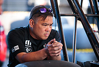 Jun 7, 2019; Topeka, KS, USA; Crew member for NHRA top fuel driver Leah Pritchett during qualifying for the Heartland Nationals at Heartland Motorsports Park. Mandatory Credit: Mark J. Rebilas-USA TODAY Sports