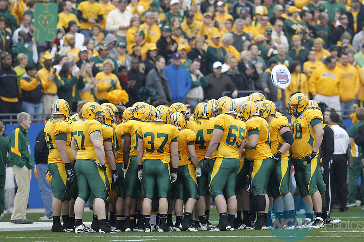 07 JAN 2012:  Sam Houston State University takes on North Dakota State University during the Division I Men's FCS Football Championship held at Pizza Hut Park in Frisco, TX.  North Dakota State beat Sam Houston State 17-6.  Tom Pennington/ NCAA Photos