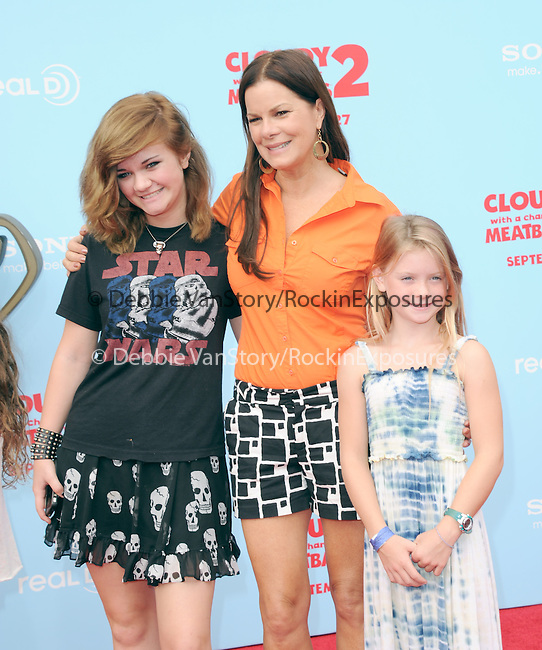 """Marcia Gay Harden and daughters at Sony Pictures Animation Los Angeles Premiere Of """"Cloudy With A Chance Of Meatballs 2"""" held at The Regency Village Theatre in Westwood, California on September 21,2013                                                                   Copyright 2013 Hollywood Press Agency"""