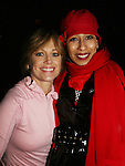 Tamara Tunie poses with Olympic skater Dorothy Hamill at the 2009 Skating with the Stars - a benefit gala for Figure Skating in Harlem on April 6, 2009 at Wollman Rink, Central Park, NYC, NY. (Photo by  Sue Coflin/Max Photos)