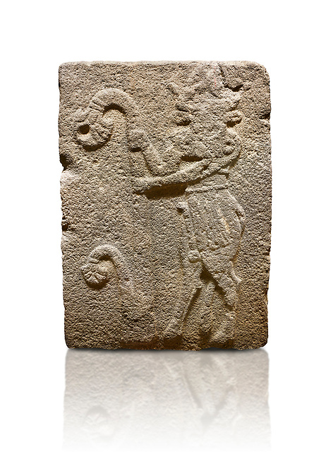 Hittite monumental relief sculpted orthostat stone panel from Water Gate Basalt, Karkamıs, (Kargamıs), Carchemish (Karkemish), 900-700 B.C. Anatolian Civilisations Museum, Ankara, Turkey. Bull-man holding the trunk of the tree. The waist-down part of the figure is in the form of a bull. <br /> <br /> On a white background.