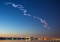 Space Shuttle Discovery leaves a smoke trail in the pre-dawn sky over Daytona Beach, FL as it lifts off to begin the STS131 mission to the International Space Station.  (Photo by Brian Cleary/www.bcpix.com)