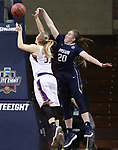 SIOUX FALLS, SD: MARCH 19:  Alisha Breen #20 of MSU Billings blocks the shot of Sarah Hart #33 of Ashland during their game at the 2018 Division II Women's Elite 8 Basketball Championship at the Sanford Pentagon in Sioux Falls, S.D. (Photo by Dick Carlson/Inertia)